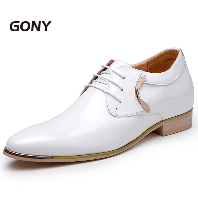 GN6592Fashion Mens Patent Leather Shoes with Height Increasing Insole 2.36 Inches for Bridegroom Wedding Party Color Black/White