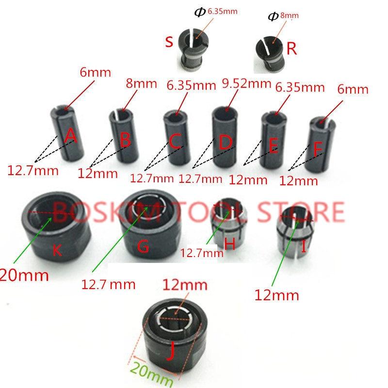 Adaptateur tige CNC Routeur outil Collet Écrou Conique 1/2 1/4 3/8 6mm 6.35mm 8mm 12mm 12.7mm pour Makita BOSCH HITACHI DeWALT Fraisage