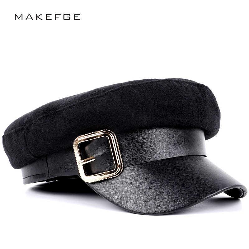 d808e1de581fa 2018 Hot Sale Fashion Ladies Wool Casual Military Hats Autumn Winter Flat Top  Hat Man Woman