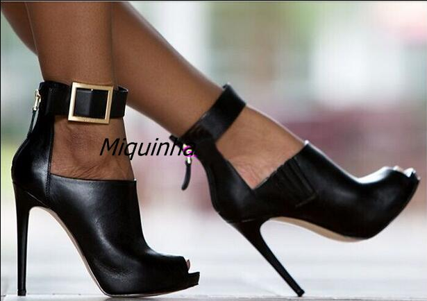 Trendy Black PU Leather Buckle High Heels Sexy Women Cut-out Peep Toe Stiletto Heel Pumps Fashion Thin Heel Back Zip Dress Shoes zip back fit and flared plaid dress