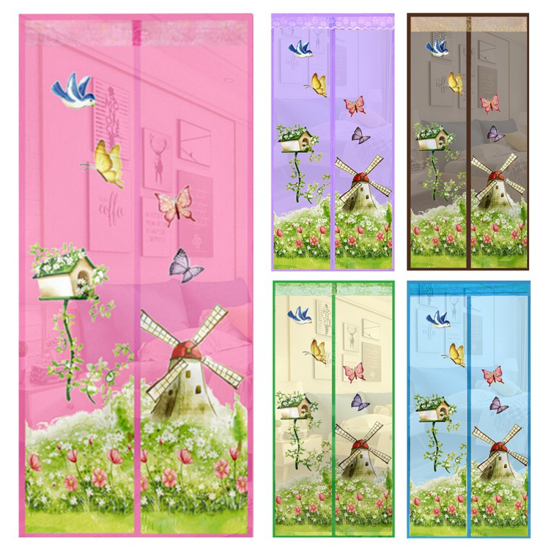 Summer Window Curtain Summer Anti-mosquito Mesh Magnet Mosquito Net Curtains Soft Yarn Door Tulle Window Screen Supplies
