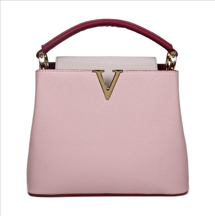 Women's Tote Bag High Quality Soft PU Leather Brand Desinger V Shape Ladies Shoulder bag Cream Pink Color Sac Crossbody Purse high quality tote bag composite bag 2