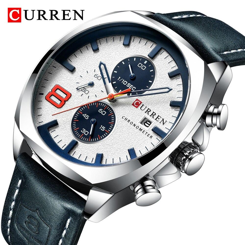 2019 marca de topo curren luxo masculino relógio analógico militar relógio quartzo masculino esporte cronógrafo relógio à prova dwaterproof água