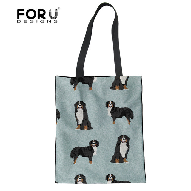 FORUDESIGNS Top-handle Bags for Women Bernese Mountain Dog Pet Printed Handbags Women Bags Designer Casual Canvas Linen Tote Bag