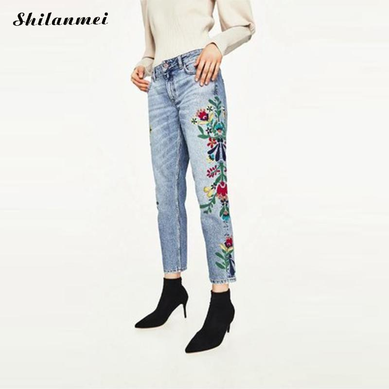 Floral Embroidered Jeans Woman 2017 Summer High Waist Jeans Ankle-Length Jeans Blue Denim Women Casual Pants Ladies Vaqueros XS 2017 spring new women sweet floral embroidery pastoralism denim jeans pockets ankle length pants ladies casual trouse top118