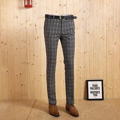 Новое поступление, высококачественные мужские весенне-осенние легкие джентльмен, серые клетчатые повседневные Костюмы, длинные штаны, тонкие деловые мужские штаны - Цвет: light grey