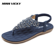 MISS VICKY 2019 New Summer Women's Casual Flat Sandals Bohemian Ethnic Style Sandals vladimir ross miss lala sandals