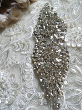 rhinestone Applique for bridal sash, headpiece, wedding applique, night gown belt diy, RAE045