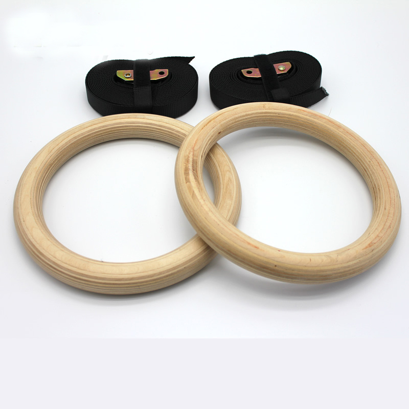 New-Wooden-28mm-Exercise-Fitness-Gymnastic-Rings-Gym-Exercise-Crossfit-Pull-Ups-Muscle-Ups