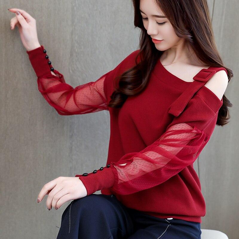 Moda La 902b3 Camisa Hombro Sexy Manga Blusas De Superior 2019 Las Larga Mujer Otoño Sólida rojo Blusa Ropa Mujeres Primavera Negro YwU0x