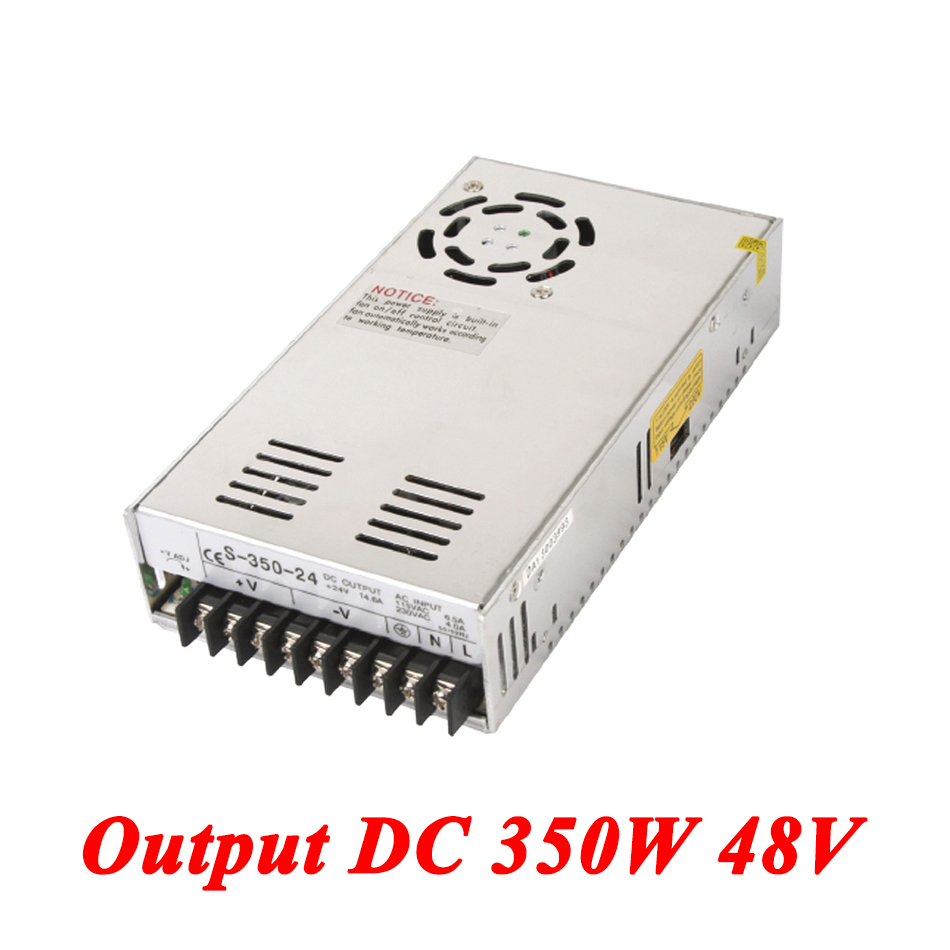 S-350-48 switching power supply 350W 48v 7.3A,Single Output voltage converter for Led Strip,AC110V/220V Transformer to DC 48V led power supply 48v 10 5a 100 120v 200 240v ac input single output switching power supply 500w 48v transformer