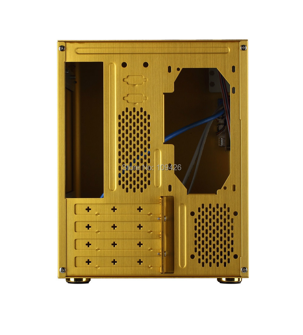 Realan D5 Vertical Golden Aluminum Mini Itx Case For And Casing Pc Open Air Mikro Atx Micro Motherboard Usb20 30 2 X Audio Ports In Computer Cases Towers From