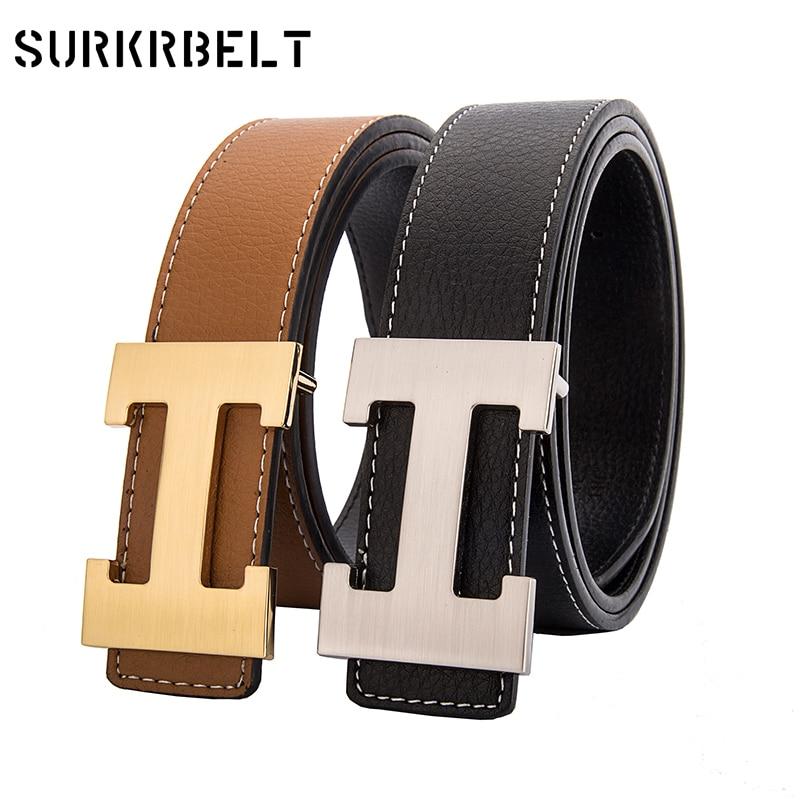 Los hombres del 2018 piel de vaca Cinturones de cuero genuino para los hombres moda Cinturones de hebilla lisa con la letra H Cinturones Hombre