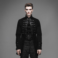 Steampunk Men Vintage Victorian Jackets Steampunk Black Single Button Coats Casual Outerwear
