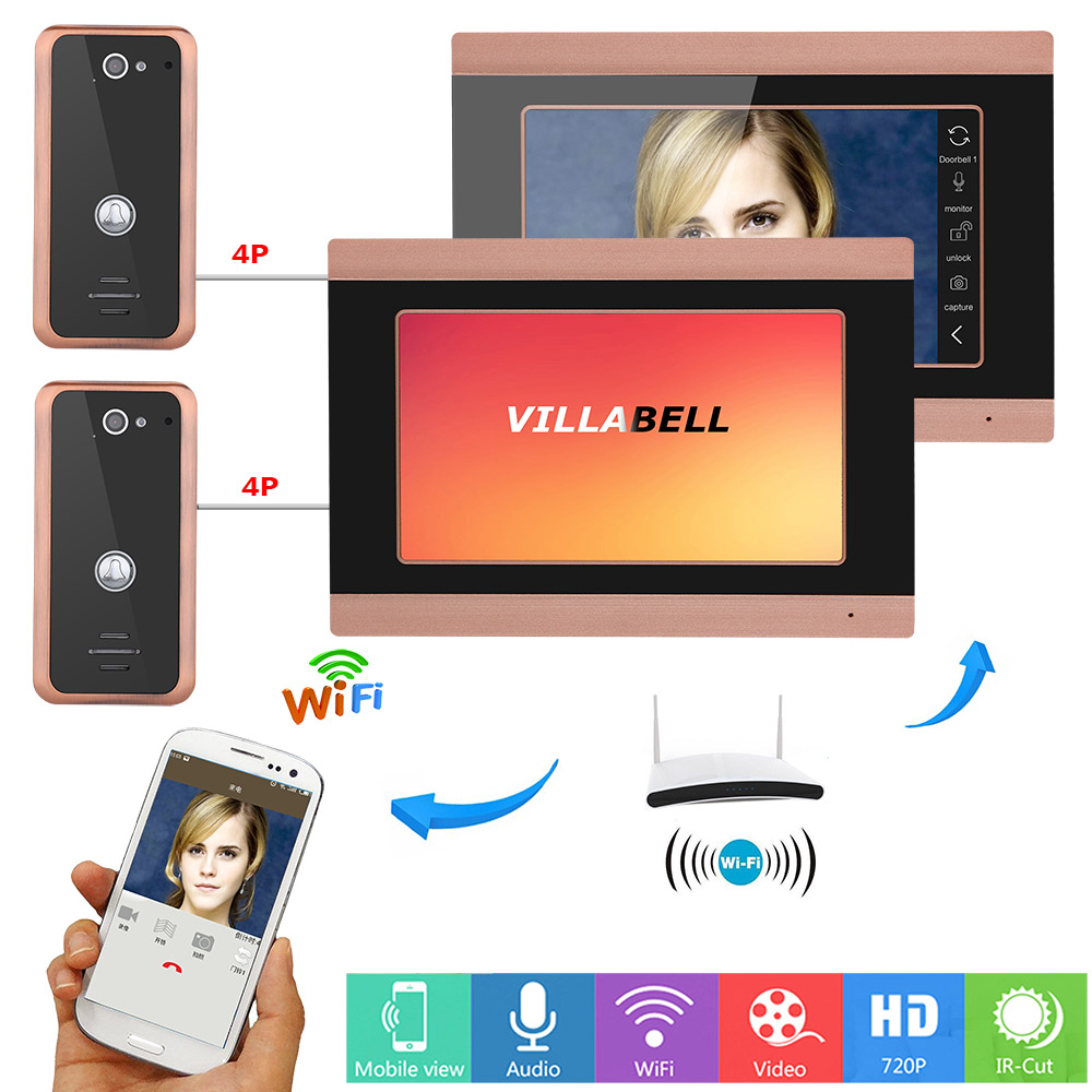 7inch 2 Monitors Wired Wifi Video Door Phone Doorbell Intercom Entry System With 2X 1000TVL Wired Camera Night Vision,Support Re