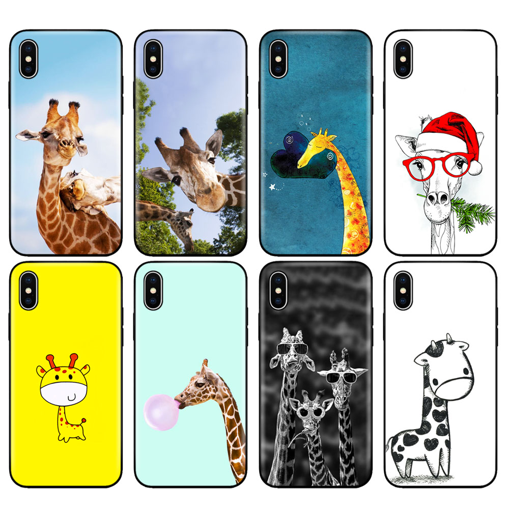 US $0.85 15% OFF|Black tpu case for iphone 5 5s se 6 6s 7 8 plus x 10 case silicone cover for iphone XR XS 11 pro MAX case Cute giraffe funny|Fitted ...