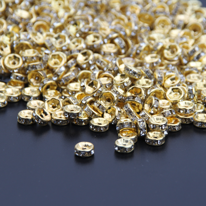 Gold Color Crystal Rhinestones Beads 6mm 8mm 10mm Rondelle Spacer Beads  500pcs pack For Bracelet Jewelry Making DIY-in Beads from Jewelry    Accessories on ... 38634eee39c6