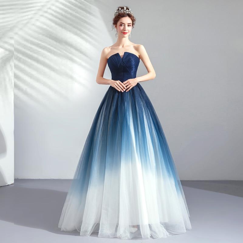 Dream Fantasy Indigo Gradient Mesh Women Party Dress Sexy Strapless High Waist Slim Long Dresses Noble Elegant Maxi Dress