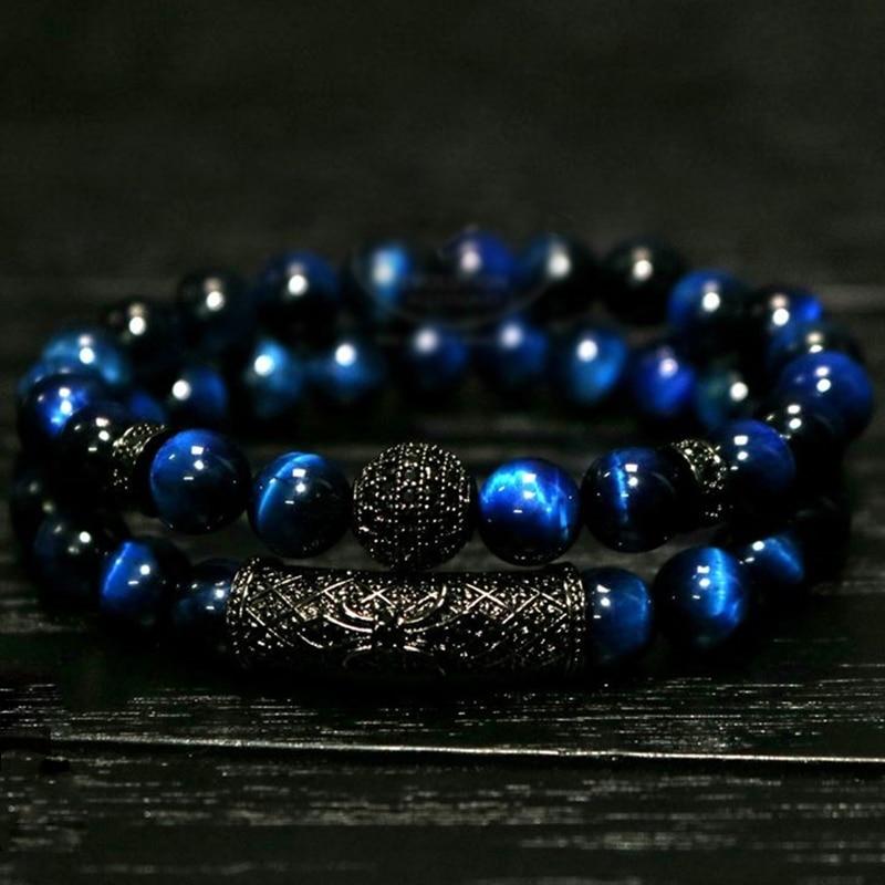2018 nuevo 2 unids/set de lujo Natural Tigre ojo piedra pulsera damas y caballeros regalo de la pulsera del collar de la joyería de los hombres pulsera