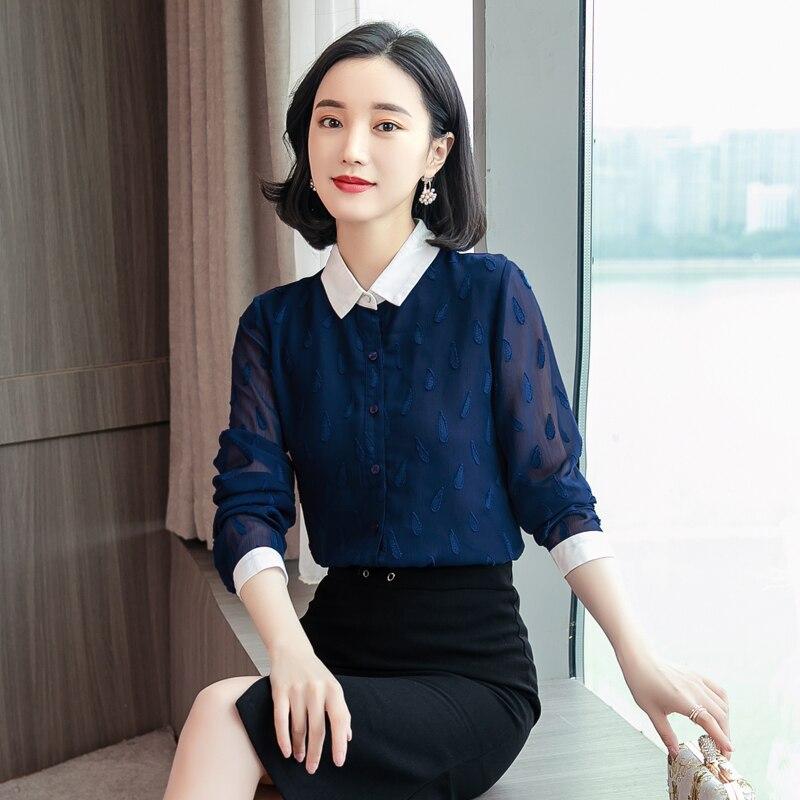 New Spring Casual Women   Shirts   Full Sleeve Mesh Chiffon Slim Professional Ololing   Blouse     Shirt   Pink Navy Light Blue 01763