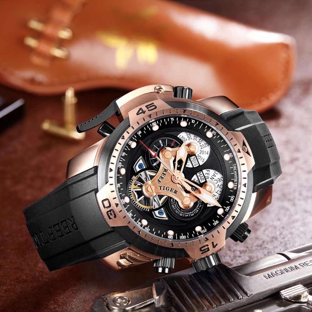 שונית טייגר/RT Mens ספורט שעונים רצועת גומי מסובך חיוג רוז זהב אוטומטי צבאי שעונים RGA3503