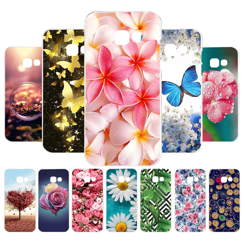 Phone <font><b>Case</b></font> For <font><b>Samsung</b></font> Galaxy <font><b>A7</b></font> <font><b>2018</b></font> <font><b>Case</b></font> Silicone Flowers Painted Cover <font><b>A7</b></font> 2017 A750 A720 <font><b>Case</b></font> Back Cover Fundas Bags image