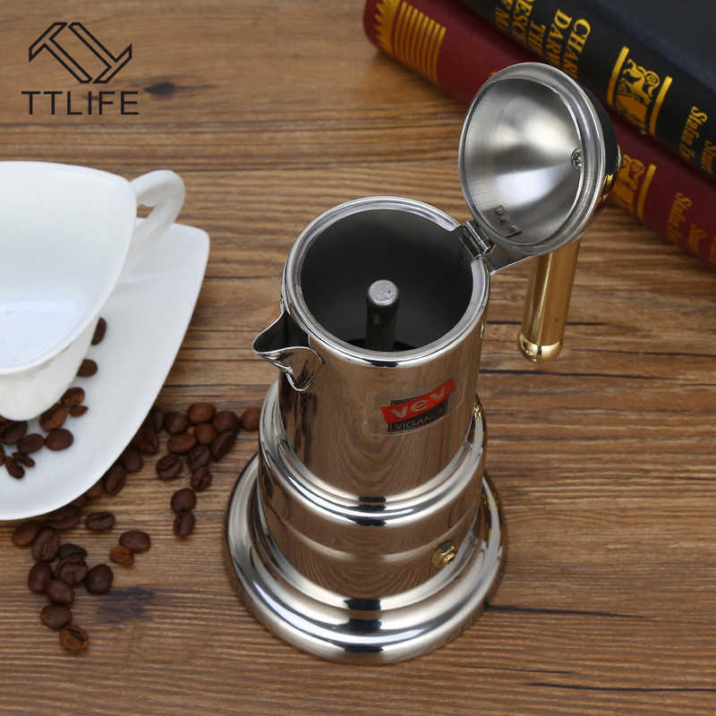 TTLIFE Percolator Stove Top Coffee Maker Mocha Pot New Style 304 Stainless Steel Espresso Latte Classical Silver 2018 New