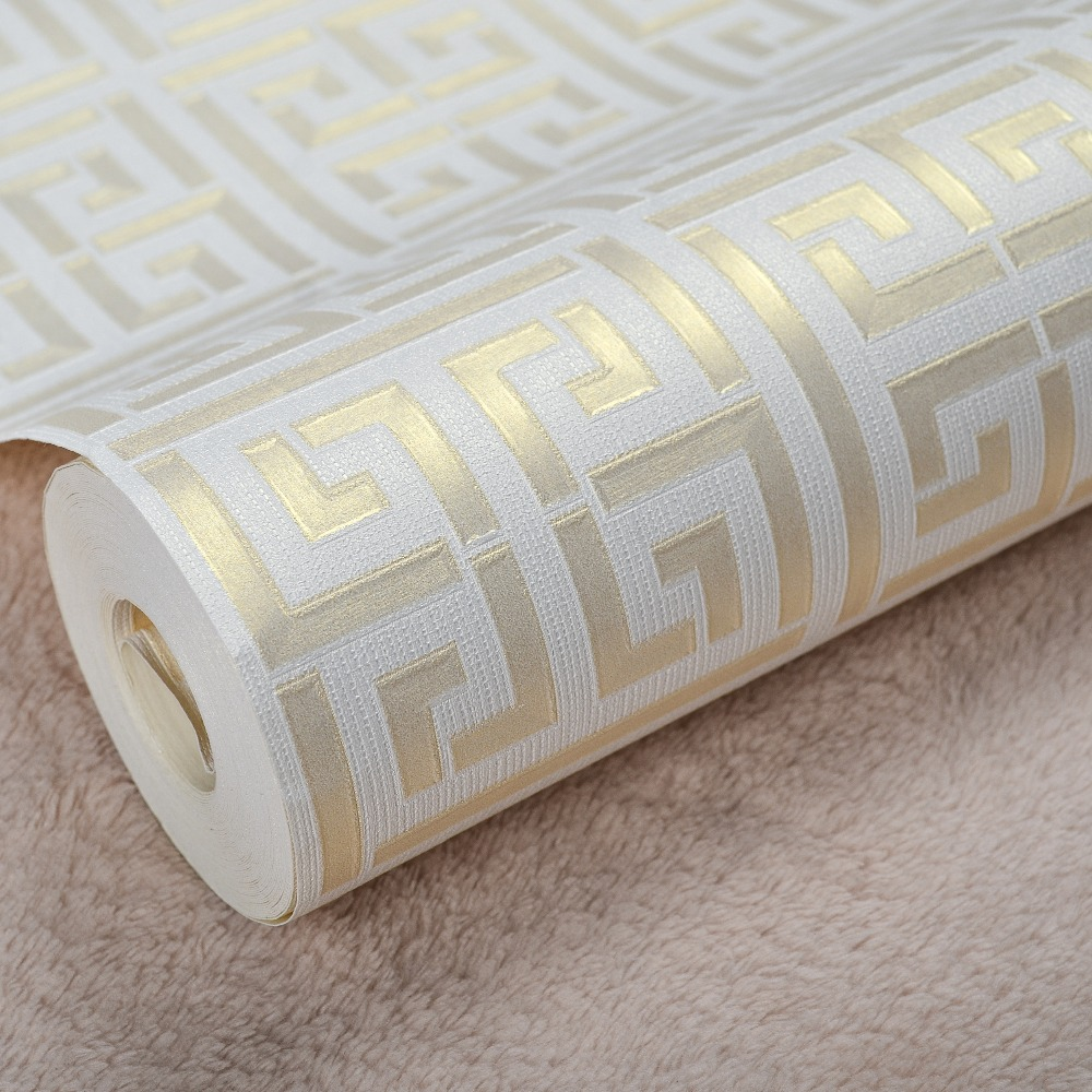Contemporary modern geometric wallpaper neutral greek key for Modern wallpaper for walls designs