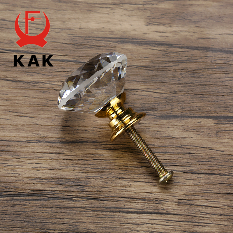 KAK 20-40mm Diamond Shape Design Crystal Glass Knobs Cupboard Drawer Pull Kitchen Cabinet Door Wardrobe Handles Hardware 5
