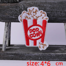 2016year New arrival 1PC Popcorn food Iron On Embroidered Patch For Cloth Cartoon Badge Garment Appliques