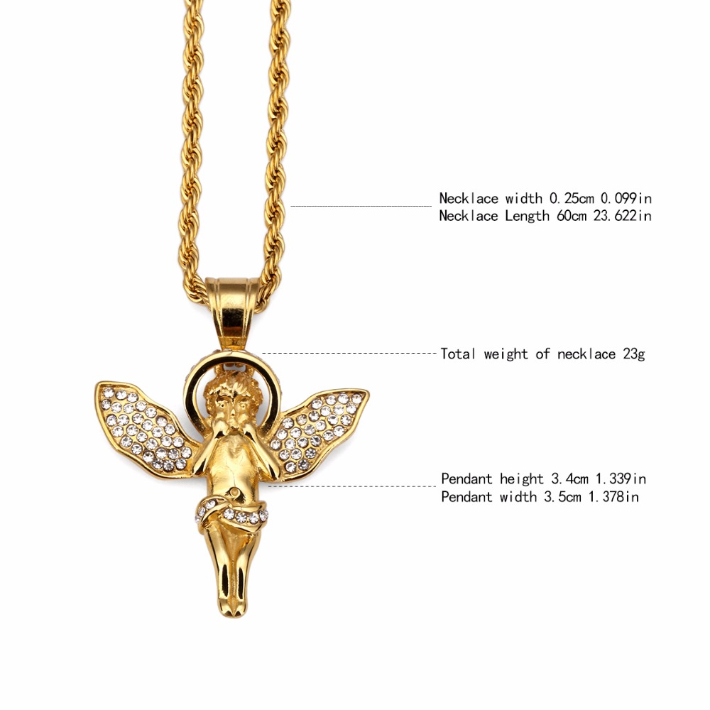 High quality titanium steel hip hop for angel necklace gold filled high quality titanium steel hip hop for angel necklace gold filled angel baby wings pendants necklaces chain men trendy jewelry in pendant necklaces from aloadofball