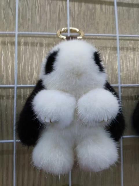 Kawaii Bunny Bag Charm Tote Charm Mink Fluffy Puffs Pom pom Real Mink Fur Bunny Pendants Purse Charm Keychains Pompoms