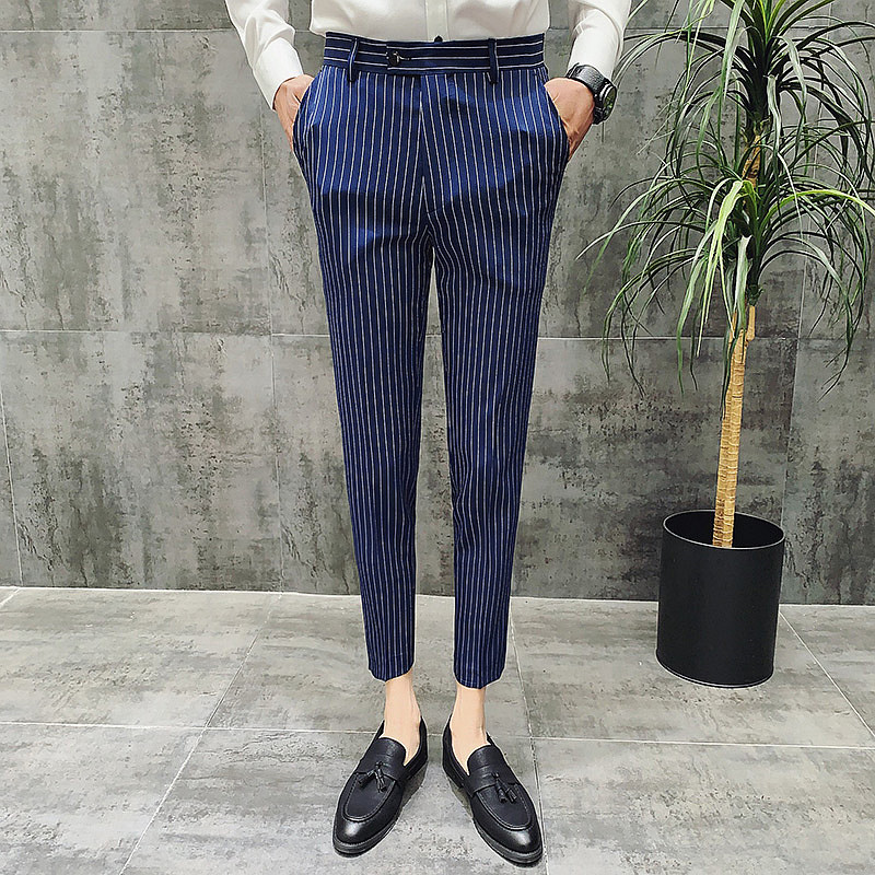 Fashion Men Ankle-Length Classic striped Pants 1