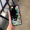 Para iphone 7 7 plus case lujo glitter liquid quicksand lentejuelas amor cubierta del teléfono case para iphone 6 splus 6 6 s 6 plus duro volver nueva
