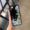 Para iphone 7 7 plus case luxo glitter líquido areia movediça amor lantejoulas tampa do telefone case para iphone 6 splus 6 6 s 6 mais rígido de volta nova