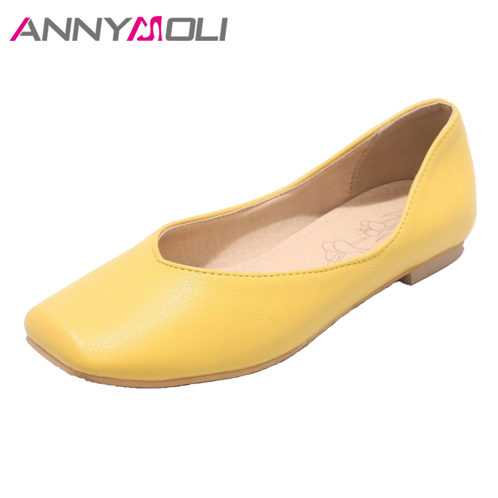 ANNYMOLI Shoes Spring 2018 Women Boat Shoes Flats Slip On Glove Shoes Square Toe Causal Flat Footwear Big Size 12 46 Yellow Pink annymoli women flat platform shoes creepers real rabbit fur warm loafers ladies causal flats 2018 spring black gray size 9 42 43