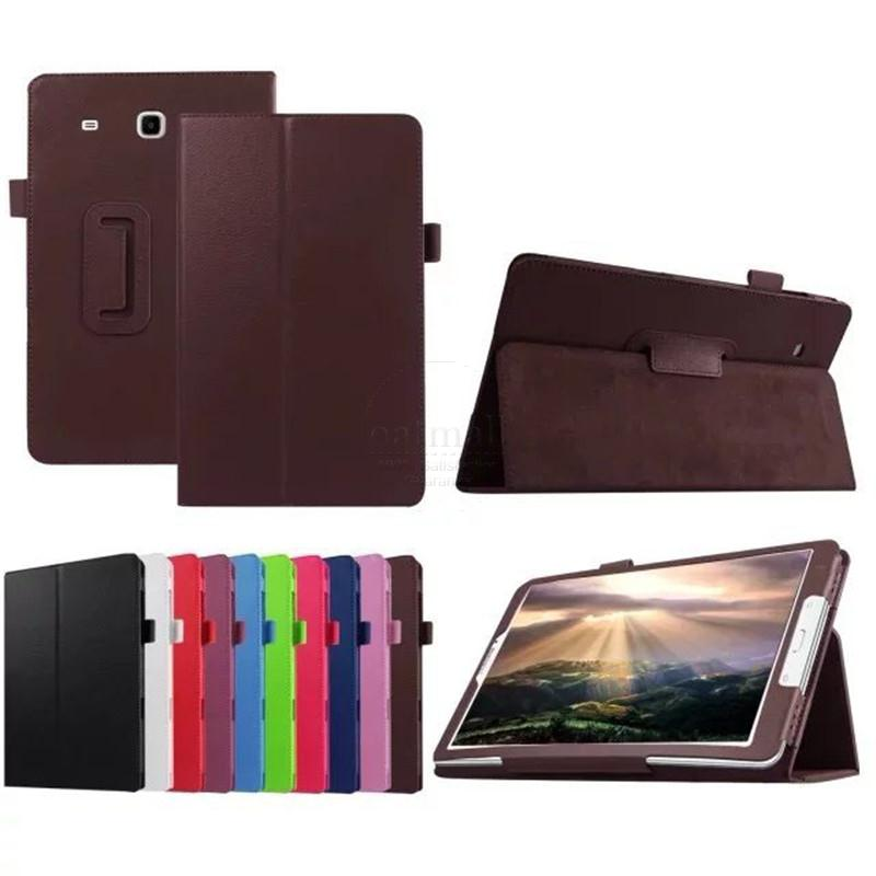 Ultra Slim Litchi Grain 2-Fold Folio Cover For Samsung Galaxy Tab E 9.6 T560 T561 Tablet Stand PU Leather Protector ultra slim litchi grain 2 fold folio stand pu leather protector shell sleeve cover case for google nexus 7 2012 7 tablet
