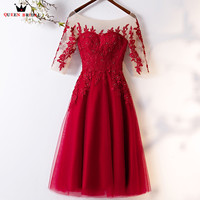 Tea Length A line Half Sleeve Wine Red Tulle Lace Crystal Short Evening Dress 2018 New Fashion Evening Gown Robe De Soiree MT01