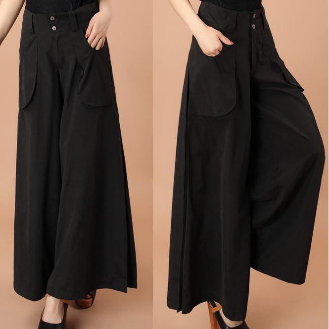 High waist wide leg pants plus size  women's casual pants Capris Pocket loose Trousers 4XL