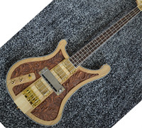 Custom Top quality Wood carving left Ricken 4003 fireglo bass guitar 4 strings electric bass guitar
