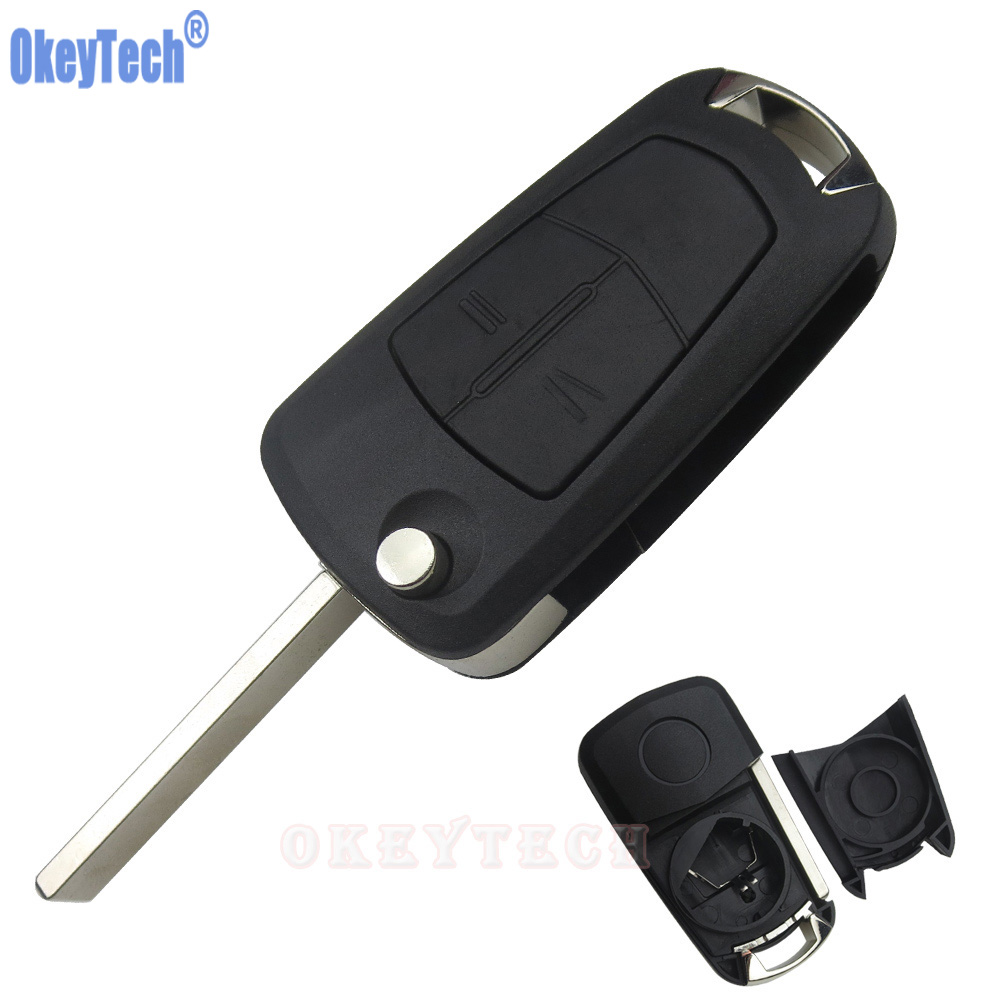OkeyTech Flip Key Shell For OPEL Astra H Corsa D Vectra C Zafira 2 Buttons Remote Car Key Case Uncut Blade Blank Replacement Fob keyyou 3 button car key remote case shell fob for opel vectra astra with key blade