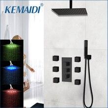 KEMAIDI черный настенный квадрат стиль латунь Водопад светодиодный набор для душа душ для ванной комнаты с ручкой душ с дождевой насадкой