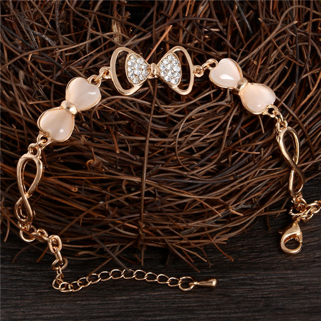 ZOSHI Gold Stellux Austrian Crystal Opal Beads Bow Style Charm Bracelets For Women Friendship Link Chain Bracelets Bangel 2