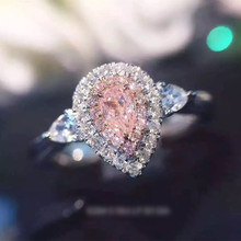 sterling silver rings water drop pink color 6mm Cubic Zircon wedding rings for women bague femme fashion jewelry anillos