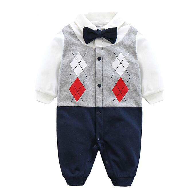2018 lovely Baby Boy Rompers 100% Cotton Tie Gentleman Suit Bow Leisure baby Clothing Toddler Jumpsuit Baby Boys Brand Clothes nyan cat baby boy clothes short sleeves gentleman bow tie vest romper hat 2pcs set outfit jumpsuit rompers party cotton costume