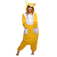 Unisex Audlts Yellow Fox Costume Pajama Jumpsuit Halloween Christmas Onesies Unisex Teenages Famous Cartoon Lounge Wear