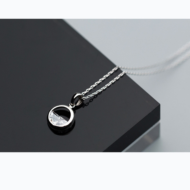 INZATT Real 925 Sterling Silver Crystal Round Minimalist Pendant Necklaces Minimalist Fine Jewelry For Women Party Accessories