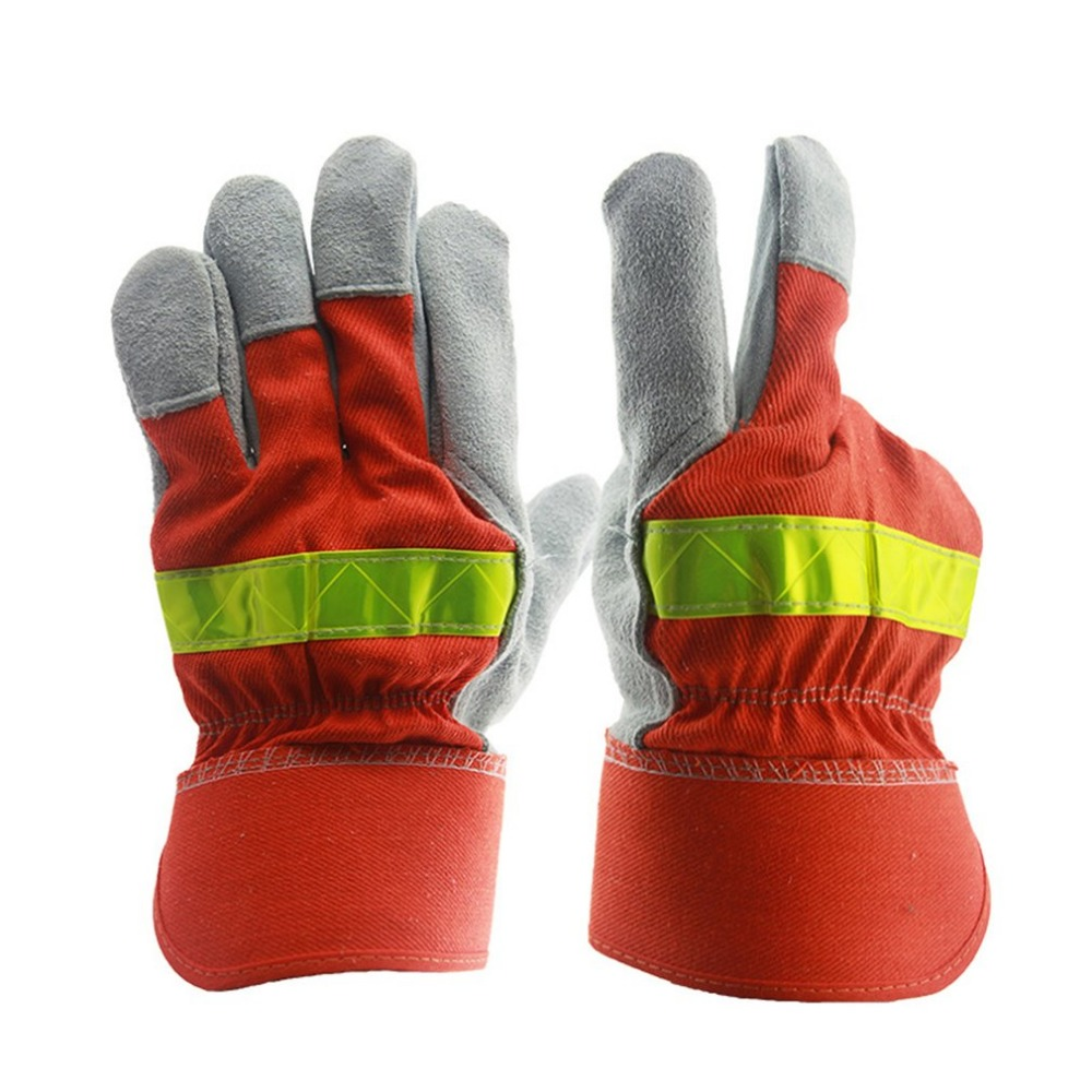 Fire Protective Gloves Fire Proof Anti-fire Equipment Heat -Resistant Flame-retardant Gloves With Reflective Strap firefighter s hand protective equipment fire rescue flame retardant safety gloves with reflective material tape