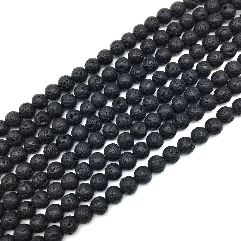 Beads & Jewelry Making Humble Black Lava Volcano Stone Beads Round Spacer 6mm 8mm 10mm 12mm 14 Mm Diy For Necklace Bracelet Sturdy Construction Beads