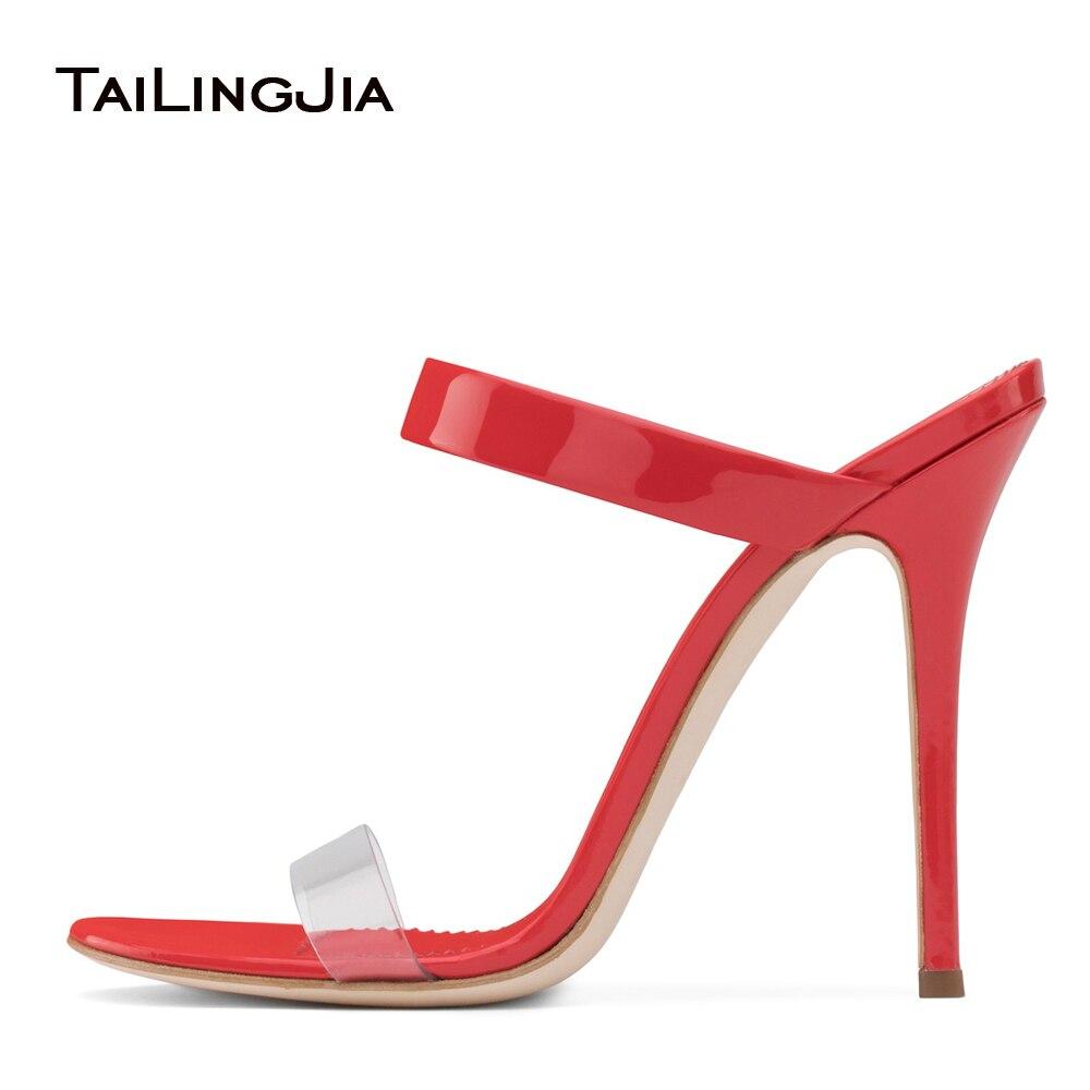 red Tacón Rojo Las Zapatos Mulas Vestido Sandalias Pvc De Alto Tacones Cuero Transparente Y Mujeres Verano Sliver Plata Cristal qAUwSU